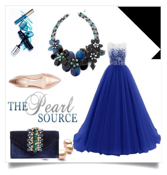 Abendkleid in kaiser blau by johnnymuller on Polyvore featuring Nicholas Kirkwood, Sondra Roberts and NOVICA
