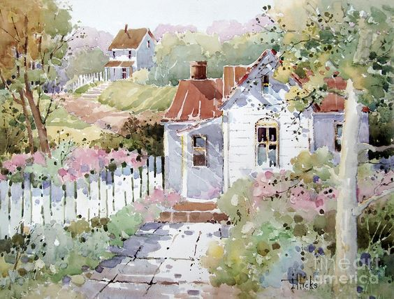 Paintings of cottages images time cottage painting by for Watercolor cottages