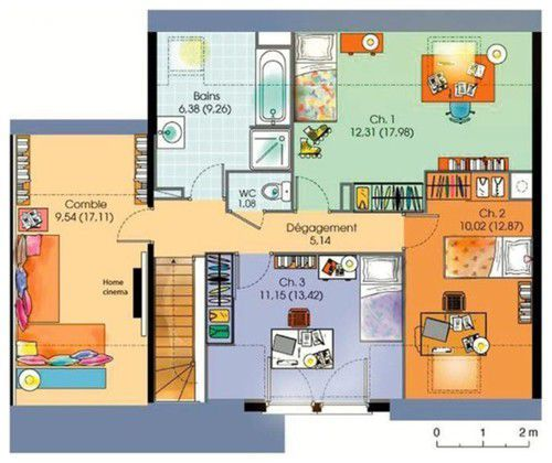 Maison contemporaine tage avec suite parentale for Plan maison suite parentale rdc