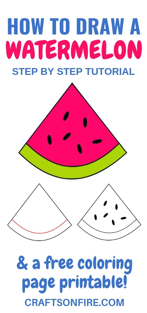 How To Draw A Watermelon Plus A Free Coloring Page Watermelon
