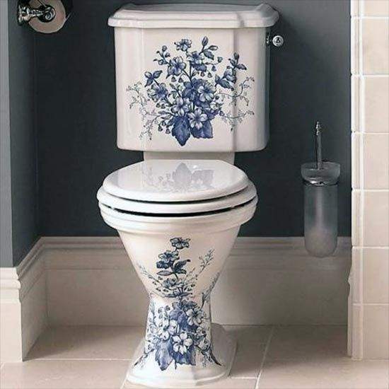Oxford Decorated Close Coupled Toilet Bathroom Design Black
