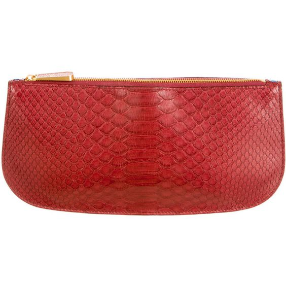 Pre-owned Smythson Python Eliot Clutch ($585) ❤ liked on Polyvore featuring bags, handbags, clutches, red, red handbags, python handbag, smythson, red clutches and snakeskin handbag