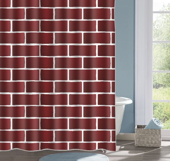 Maroon Brick Design Bathroom Shower Curtain, Brick Wall  Bath Curtain, Custom Polyester Shower Curtain, Custom Shower Curtain, Decorative