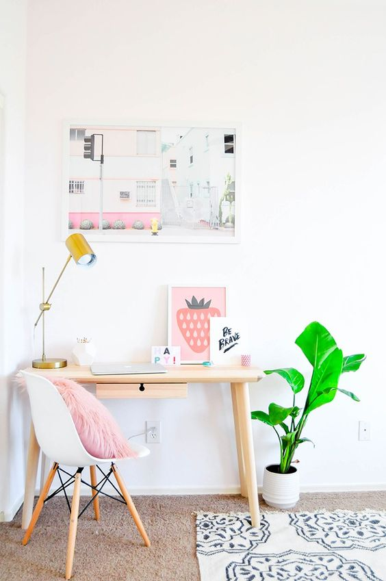 Pastel prints in the guest room and office of Proper blogger Lexy Ward - Decoist: