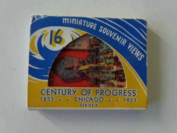 Century of Progress Miniature Souvenir Cards. Set of 16 in Original Mailing Case. Chicago, Illinois. by LeObjectUnique on Etsy