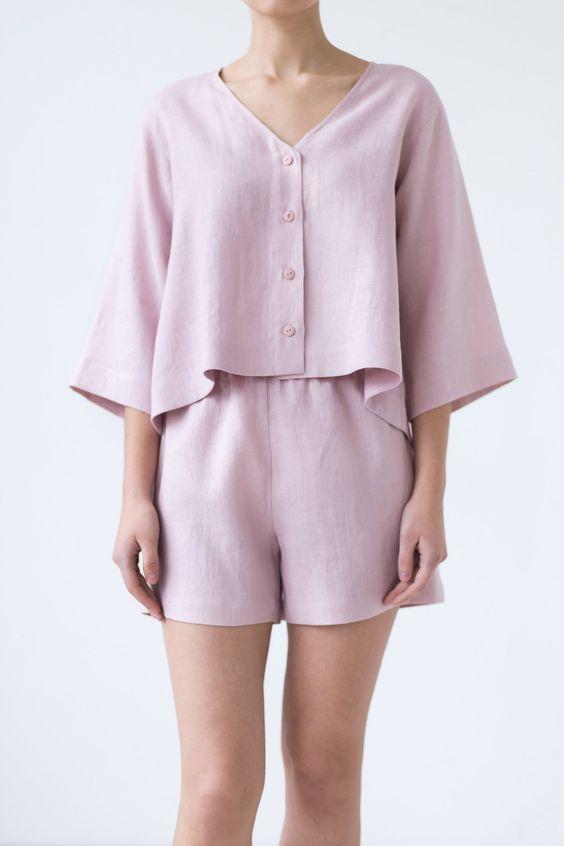 Soft linen V-neck oversized top / MITS | Etsy