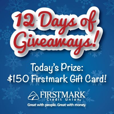 Enter to Win: woobox.com/ohp8ja It's Day 11 of our #12DaysOfGiveaways! Today's prize is a $150 FirstmarkCU Gift Card!!!  You must enter each day to be eligible to win that day's prize. Share the contest after you have entered THROUGH THE CONTEST APP and when a friend enters through your personalized link you get a extra chance to win! Good Luck!