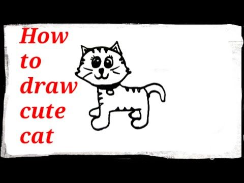 رسم قطة كرتون سهل وبسيط رسم سهل للاطفال Kids Draw How To Draw Cartoon Kitten Step By Step Youtube Cartoon Drawings Drawing For Kids Drawings