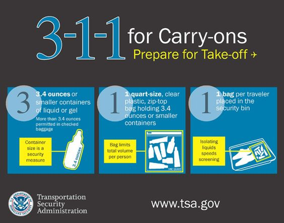 -1-1 for carry-ons = 3.4 ounce (100ml) bottle or less (by volume); 1 quart-sized, clear plastic, zip-top bag; 1 bag per passenger placed in screening bin. One-quart bag per person limits the total liquid volume each traveler can bring. 3.4 ounce (100ml) container size is a security