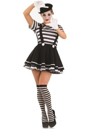 Costumes ladies 5pc french mime artist circus fancy dress costume
