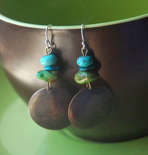 Southwest rústico - cobre turquesa, verde, mar azul, aro