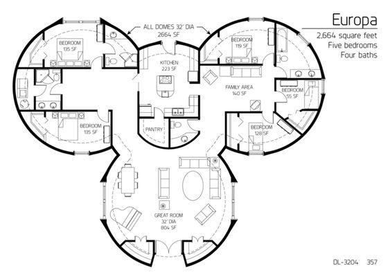5 beroom dome home floor plans mediumdl 3204png Planos