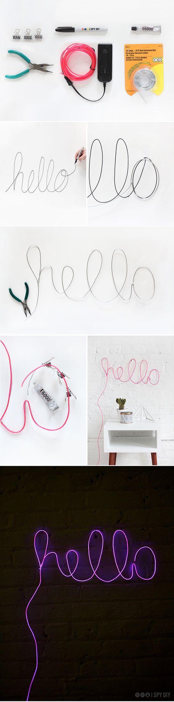 The Pinterest 100: Art & design; Do-it-yourself neon signs, faça você mesmo, decoração, neon: