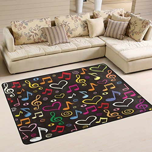 Colorful Music Notes Hearts Treble Clef Area Rug Fun Bright Colors On A Black Background 6 X4 For A M Floor Rugs Rugs In Living Room Living Room Area Rugs