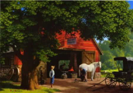 Paul Detlefsen, Horse and Buggy Days.  This painting hung above our sofa in the home place.