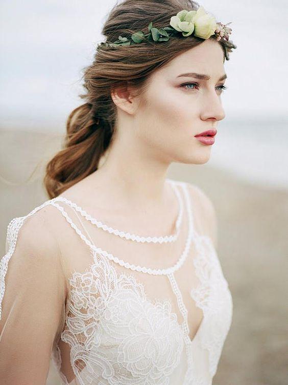 Nude wedding dress, bohemian wedding dress