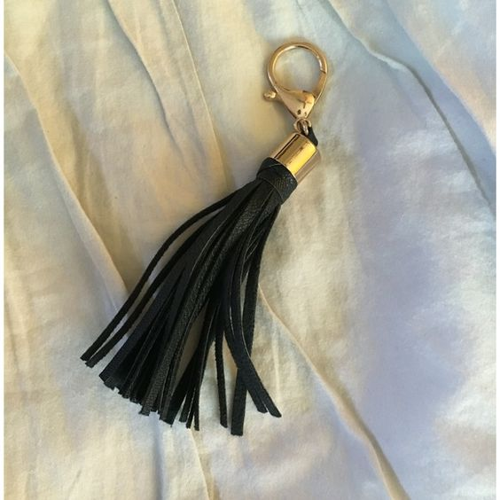 Black Mini Tassel Keychain Brand new without tags! Never used! Modeled with bag to show size. BAG NOT INCLUDED Nordstrom Accessories Key & Card Holders