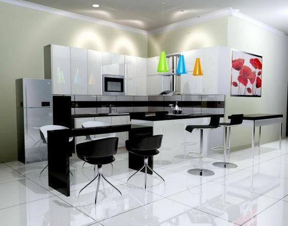 Cuisine cuisine blanc avec plan de travail noir : Cuisine blanche avec plan de travail noir - 73 idées de relooking ...