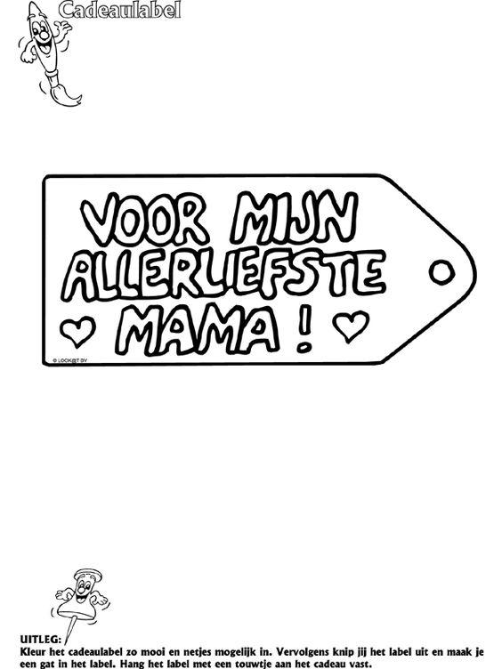 Moederdag - Cadeaulabel - Knutselpagina.nl - knutselen, knutselen en nog eens knutselen.