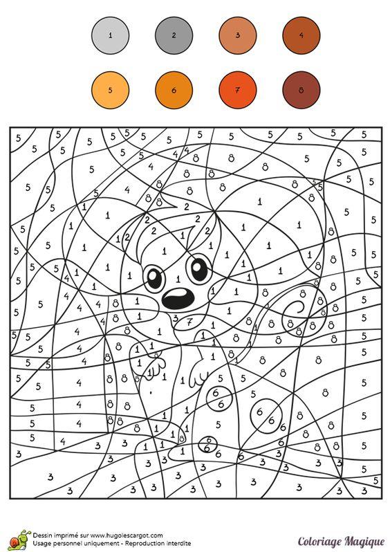 Coloriage magique cm1 ecureuil color by number for - Coloriage magique grammaire cm1 ...