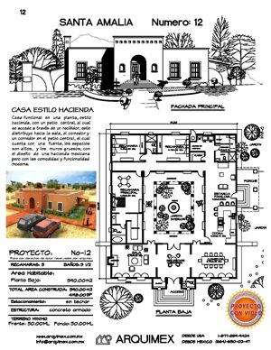 Haciendas dream home plans and home plans on pinterest for Disenos de casas mexicanas