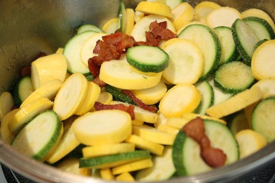 Squash, zucchini & BACON! My husband will love to cook this