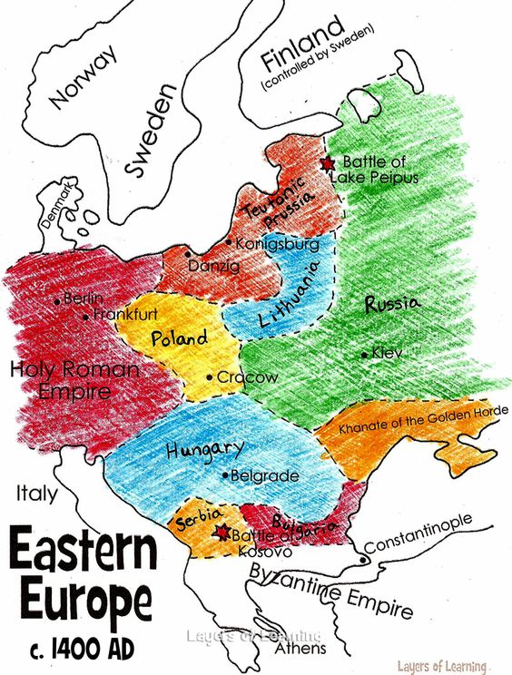Print and color this map of Eastern Europe in the Middle Ages – Geographical Map of Eastern Europe