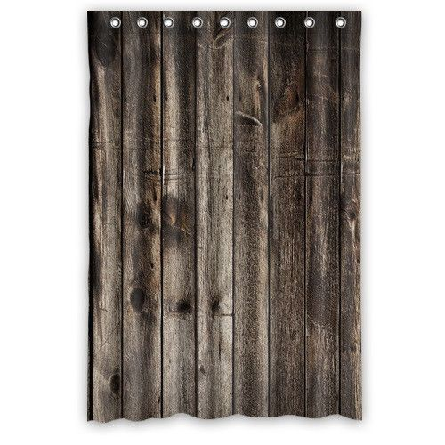 48 x 72 vintage rustic old barn wood shower curtains for Old world curtains and drapes
