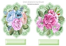 Pretty painted roses on a  ornate topper on Craftsuprint - View Now!