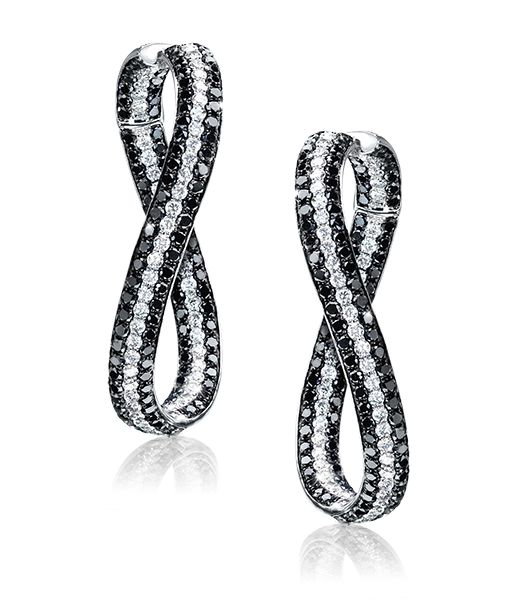 Rosamaria G Frangini | High Black Jewellery | Twist Black and White Diamond Hoops.