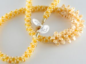 Cream and Yellow Kumihimo Necklace with dotted pips | Craftybase