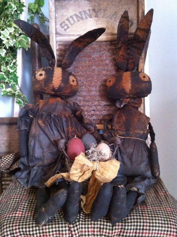 Primitive Folk ARt Large boy Girl Easter bunny Rabbit doll pair Egg Basket set #NaivePrimitive