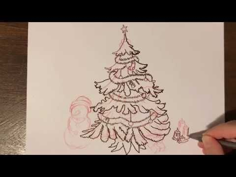 How To Draw Christmas Tree With Christmas Song Christmas Tree Drawing Drawings Christmas Tree