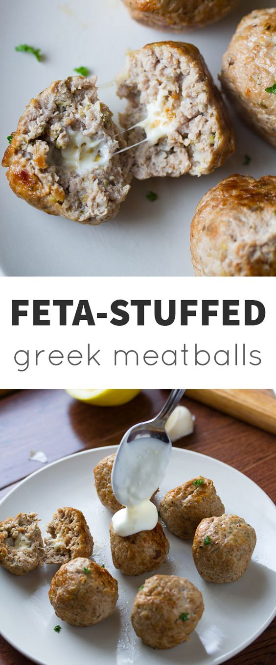 Feta-Stuffed Greek Turkey Meatballs with Lemon-Garlic Yogurt Sauce @sweetpeasaffron