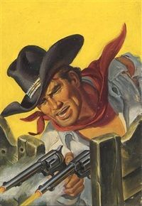 RAFAEL M. DeSOTO - art for Hell Rims These Guns by George Michener - Oct 1949 Fifteen Western Tales