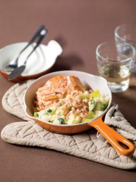 Stoemp aux poireaux, saumon & crevettes grises | Spar