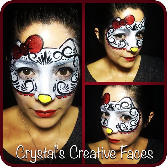 hello kitty sugar skull by crystal 39 s creative faces chicago face painting face painting. Black Bedroom Furniture Sets. Home Design Ideas