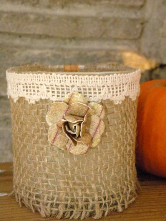 Shabby Chic Burlap Soy Container Candle    Scented  by aunaturelle, $15.00