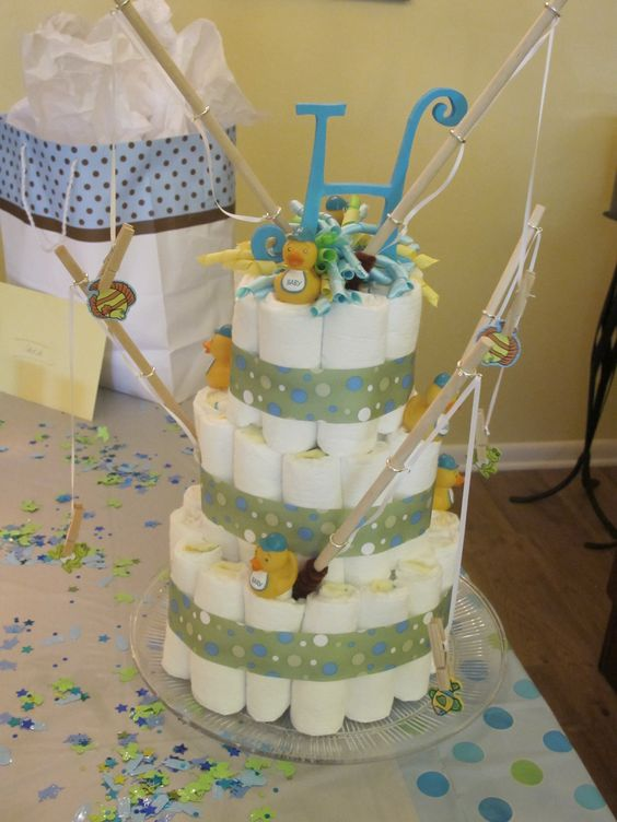 Diaper cake for fish themed baby shower baby shower for Fishing themed baby shower