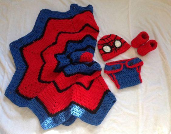 Handarbeit gehäkelte Spiderman Decke und Outfit, Spiderman inspirierende Outfit und junge Babydecke, jungen Gehäkelte Decke, häkeln spiderman