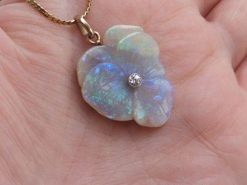 Stunning Victorian Diamond Carved Opal Gold Pendant on Chain | eBay