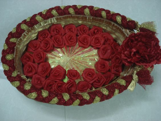 creative basket with red roses
