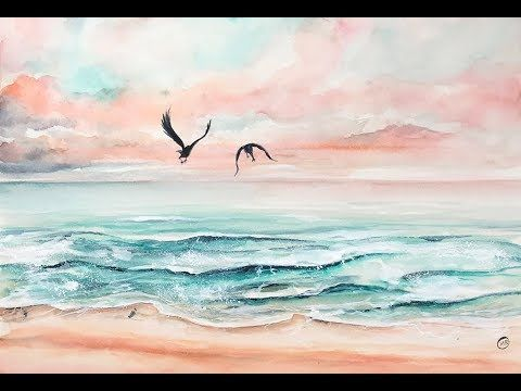 Easy Waves Watercolors Painting Tutorial Youtube Beach