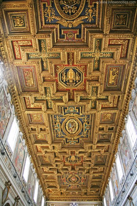 Coffered ceiling of the Santa Maria in Aracoeli in Rome