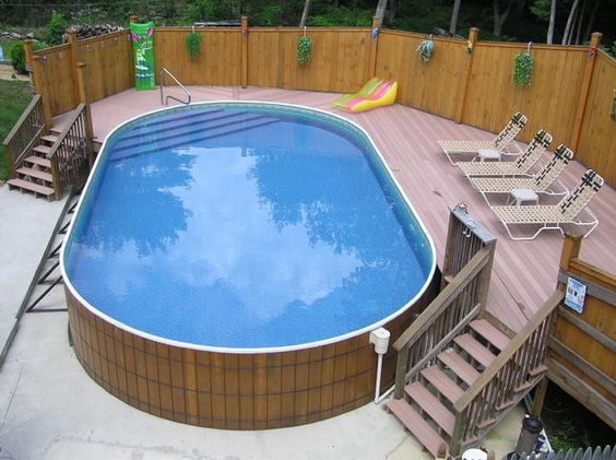 Luxurious above ground pool decks in classic look simple for Portable above ground swimming pools