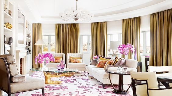 Pink and gold decor, tree trunk coffee table // hotel design, orchids/ gold silk: Living Rooms, Hotel Suites, Luxury Penthouse, Penthouse Suites Rooms, Penthouse Corinthia