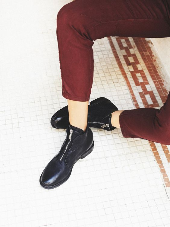 Edison Ankle Boot | Italian leather ankle boots with recessed zip fronts and snakeskin textured tongues. Modern, menswear-inspired design.