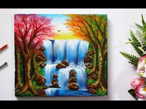 Step By Step Waterfall Landscape Painting For Beginners Youtube