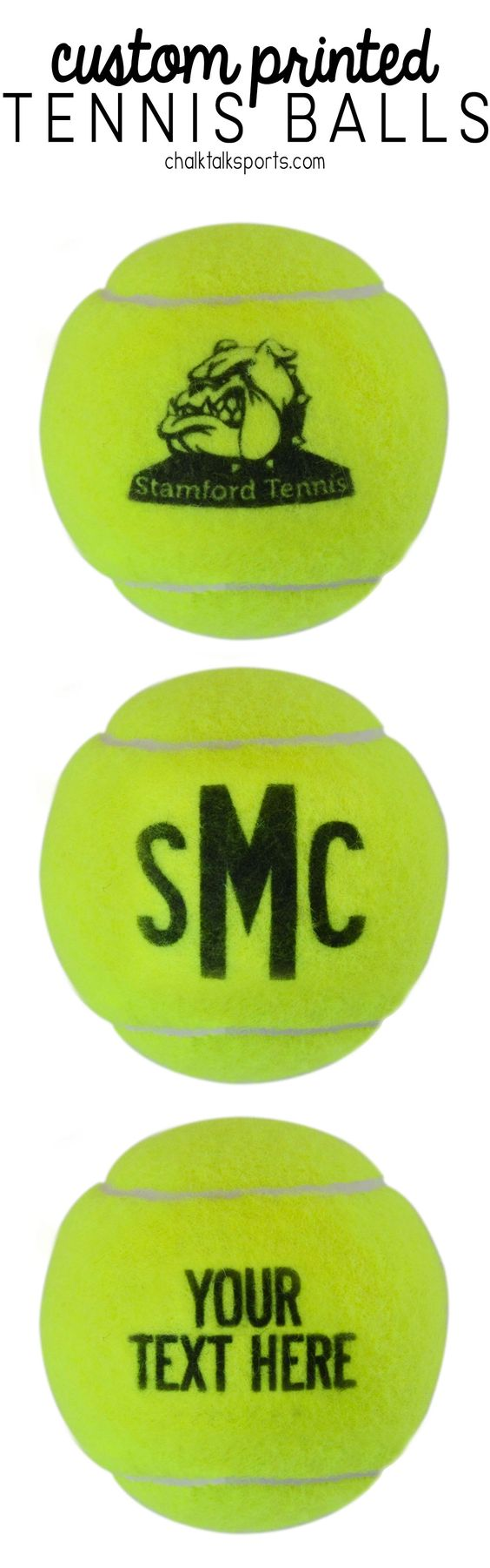 Custom Printed Tennis Balls! Great tennis gift idea for birthdays, team gifts, coach gifts, holidays and more!
