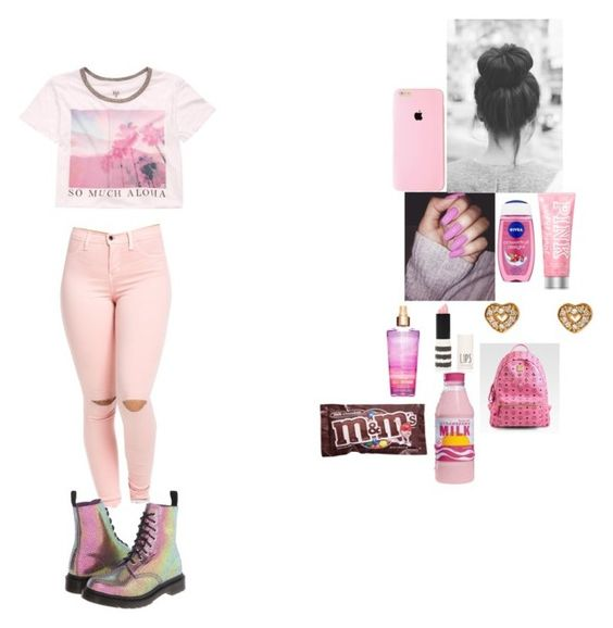 """""""- School Outfit -"""" by foodislyfe ❤ liked on Polyvore featuring Billabong, Betsey Johnson, Nivea, Victoria's Secret PINK, Topshop, Dr. Martens, Candie's and MCM"""